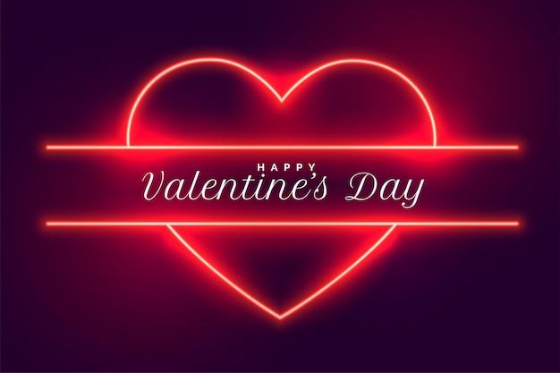 Feliz día de san valentín diseño de corazones de neón