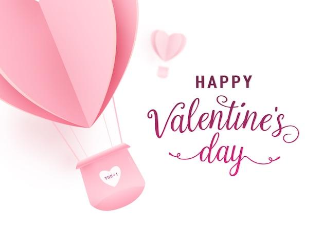 Feliz día de san valentín diseño con papel cortado en forma de corazón rosa globos de aire caliente volando