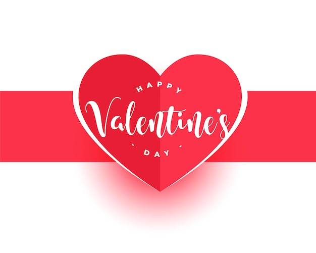 Feliz día de san valentín diseño de tarjeta de corazón de papel rojo
