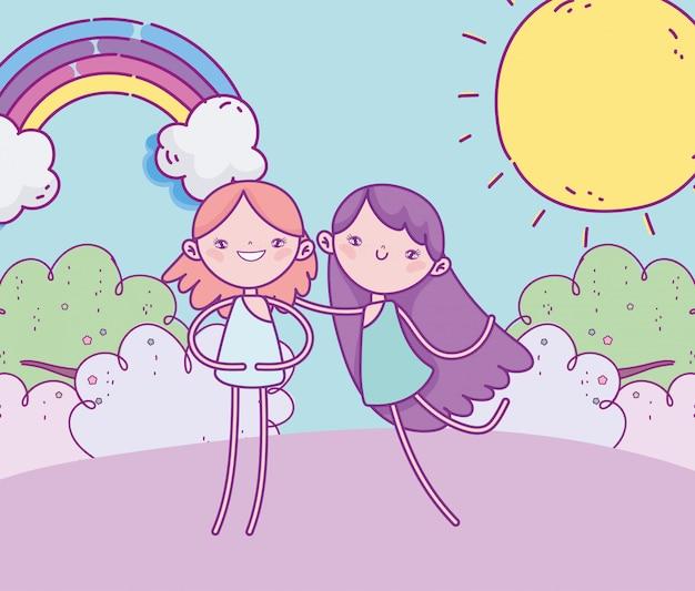 Feliz día de san valentín, divertidos cupidos hierba arco iris día soleado dibujos animados