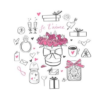 Feliz día de san valentín doodle conjunto, banner, fondo