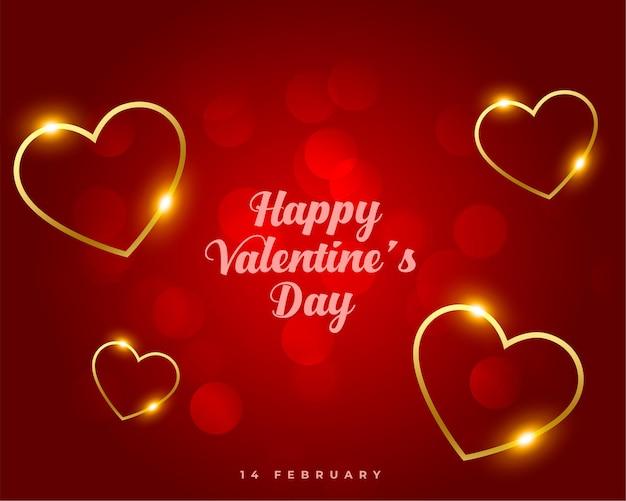 Feliz día de san valentín dorado diseño de corazones flotantes