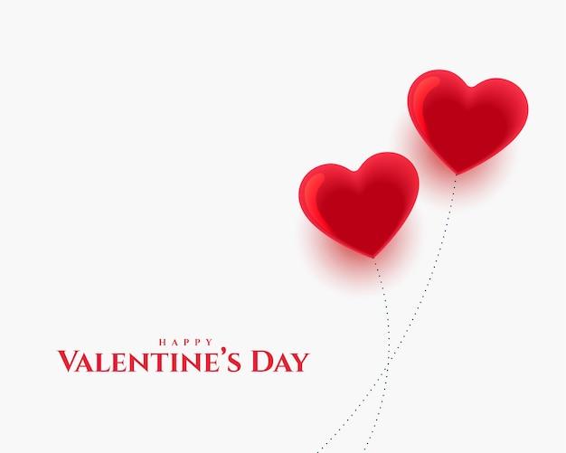 Feliz día de san valentín dos corazones de amor globos diseño de tarjeta