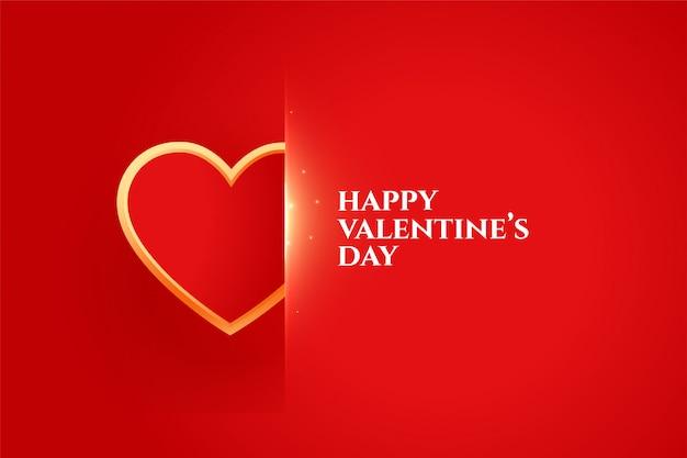 Feliz día de san valentín elegante con tarjeta de felicitación de corazón dorado