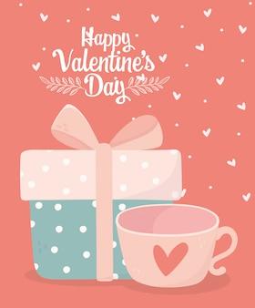 Feliz día de san valentín envuelto caja de regalo y taza de café tarjeta de amor