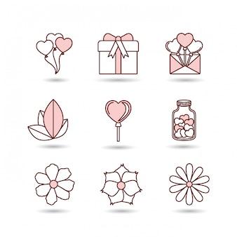 Feliz día de san valentín establece iconos