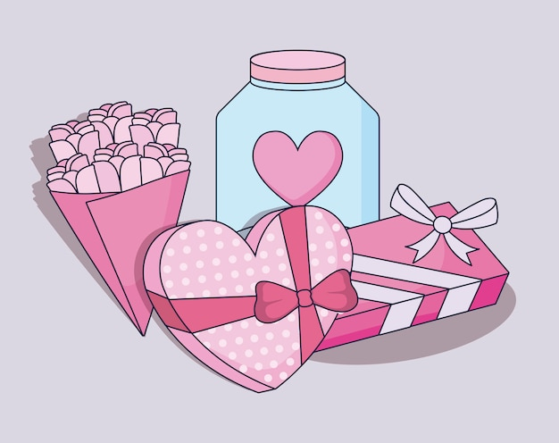 Feliz día de san valentín establece regalos