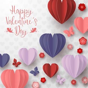 Feliz día de san valentín estilo de corte de papel con forma de corazón colorido en fondo blanco.