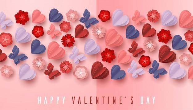 Feliz día de san valentín estilo de corte de papel con forma de corazón colorido en fondo rosa
