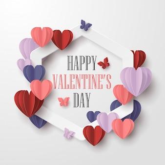 Feliz día de san valentín estilo de corte de papel con forma de corazón colorido y marco blanco sobre fondo blanco.