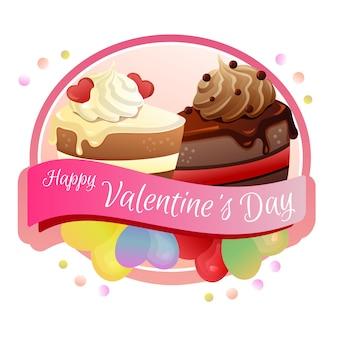 Feliz día de san valentín etiqueta rebanada pastel