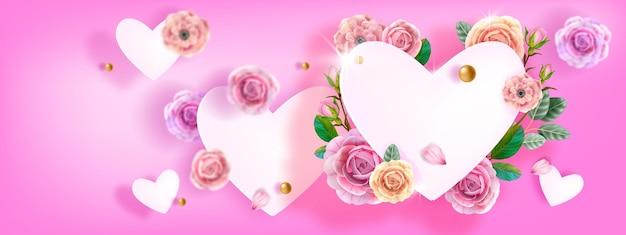 Feliz día de san valentín, fondo de amor rosa del día de las madres con corazones blancos voladores, rosas, flores, hojas. vacaciones románticas florales