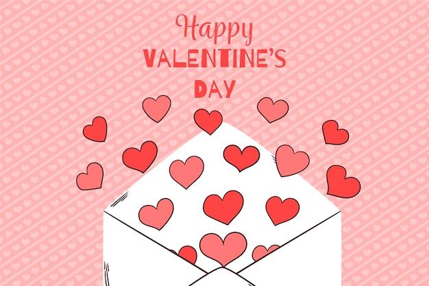 Feliz día de san valentín fondo con carta de amor abierta