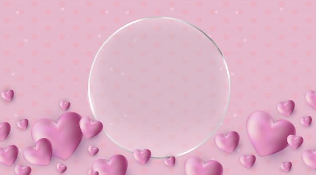 Feliz día de san valentín fondo con corazones de color rosa