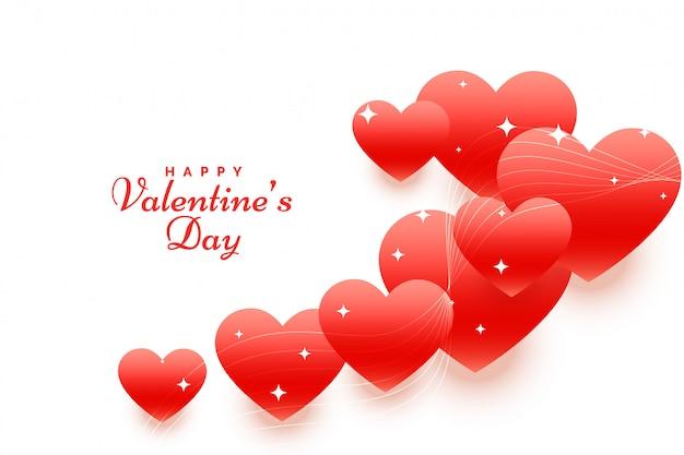 Feliz día de san valentín fondo de corazones flotantes