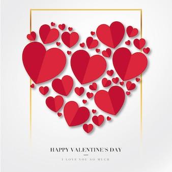 Feliz día de san valentín fondo con corazones