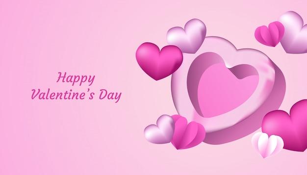 Feliz día de san valentín fondo con forma de corazón 3d