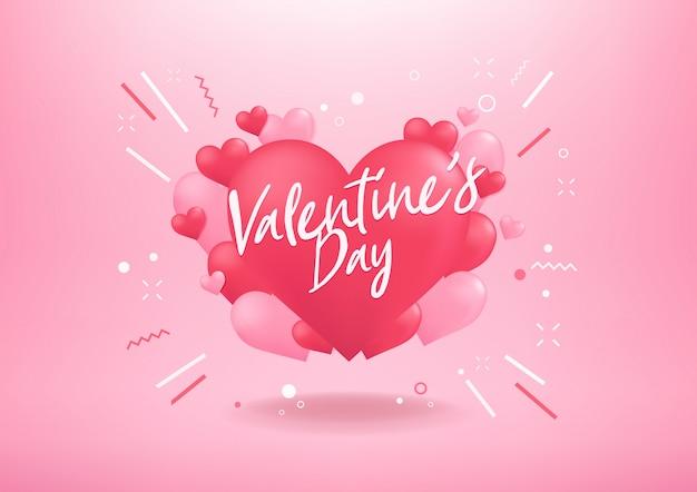 Feliz día de san valentín con fondo de forma de globo de corazón