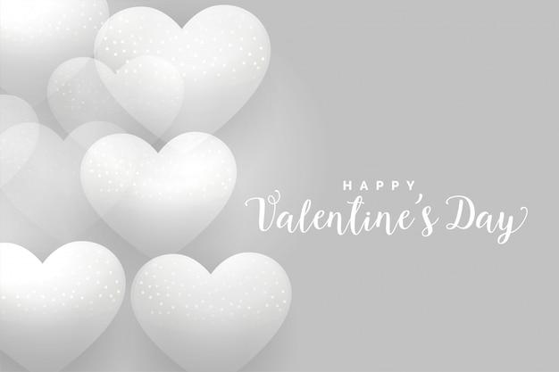 Feliz día de san valentín fondo gris corazones blandos