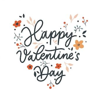 Feliz día de san valentín fondo con letras y flores. ilustración de tarjeta de vacaciones sobre fondo blanco.