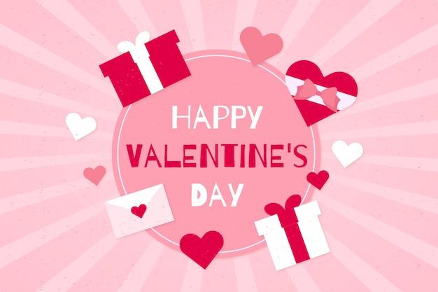 Feliz día de san valentín fondo con regalos rosas