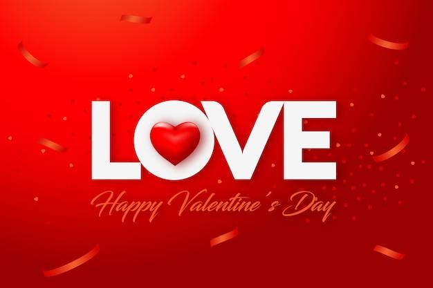 Feliz día de san valentín fondo rojo con amor y corazón
