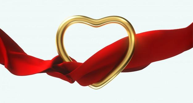 Feliz día de san valentín. forma de corazón de oro con un paño rojo que fluye aislado. 3d