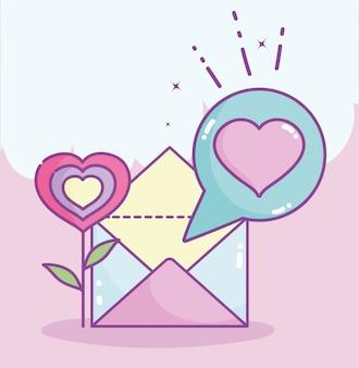 Feliz día de san valentín, forma de flor corazón correo carta mensaje ilustración vectorial