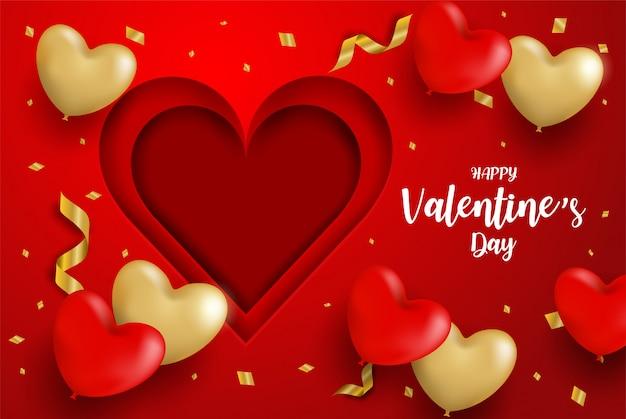 Feliz día de san valentín. globos de corazón de oro y confeti de oro sobre fondo rojo.