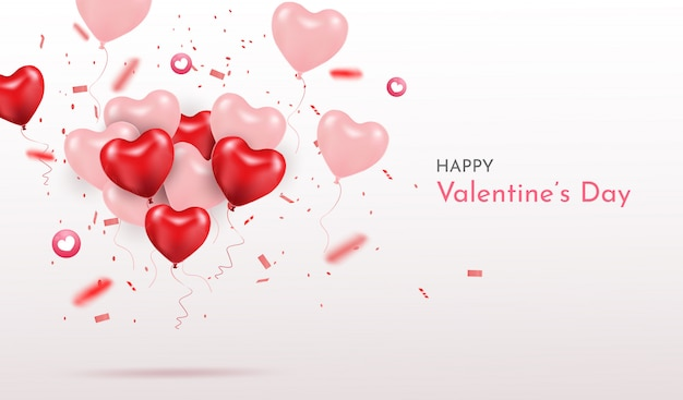 Feliz día de san valentín. globos de corazón realista 3d con brillos. amor temporada banner, saludo y tarjeta.