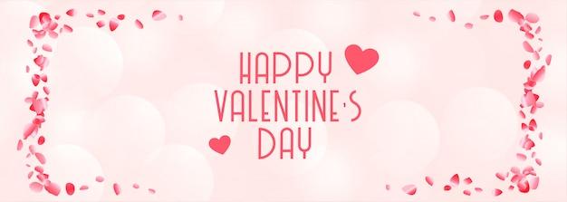 Feliz día de san valentín hermosa pancarta rosa y blanca