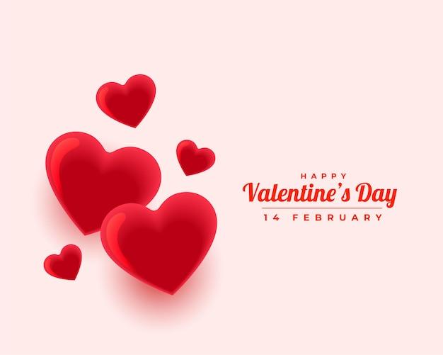 Feliz día de san valentín hermoso amor corazones saludo