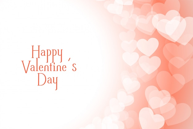 Feliz día de san valentín hermoso diseño de tarjeta de felicitación de corazones suaves