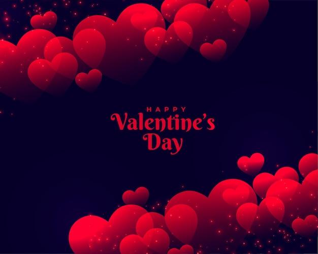 Feliz día de san valentín hermoso fondo de corazones rojos