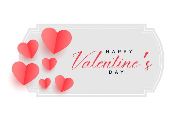Feliz día de san valentín hermoso papel cortado corazones fondo