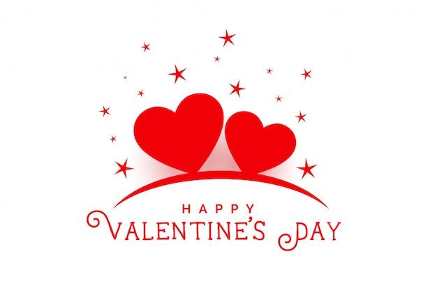 Feliz día de san valentín hermosos corazones y estrellas de fondo