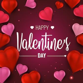 Feliz día de san valentín. ilustración de vector con 3d globos rojos y rosados.