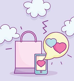 Feliz día de san valentín, ilustración de vector de bolso de compras de mensaje de amor de teléfono