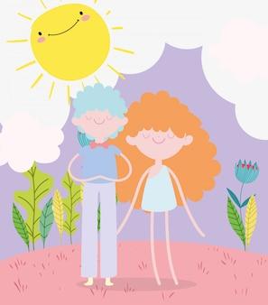Feliz día de san valentín, joven y cupido en el prado planta sol