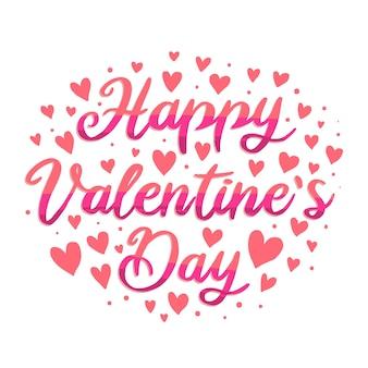 Feliz día de san valentín letras con corazones