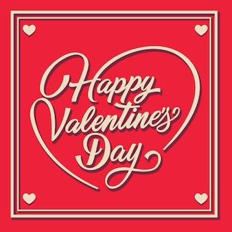 Feliz día de san valentín letras en marco con remolinos