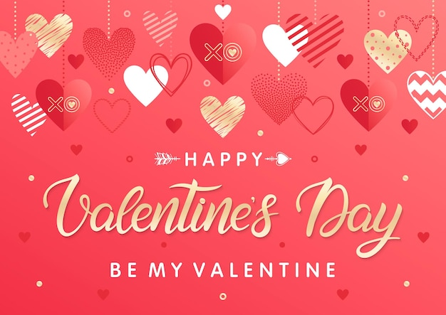 Feliz día de san valentín: letras pintadas a mano con diferentes corazones y elementos de lámina dorada.