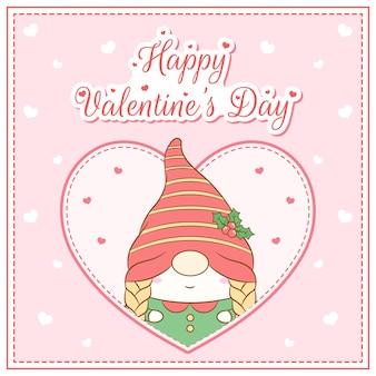 Feliz dia de san valentin linda chica gnomo dibujo postal gran corazon