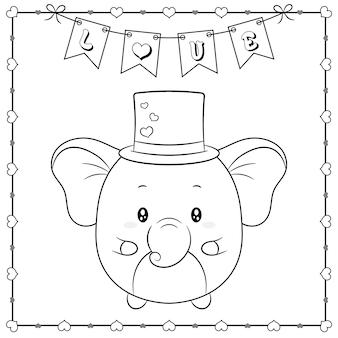Feliz día de san valentín lindo animal bebé elefante dibujo boceto para colorear con marco de corazones y pancarta de amor
