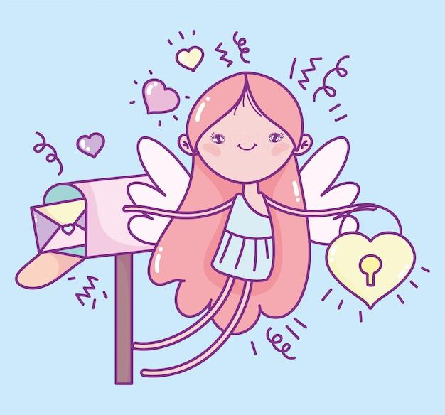 Feliz día de san valentín, lindo cupido con candado y buzón corazones de mensajes románticos