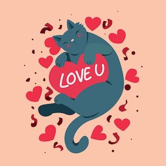 Feliz día de san valentín con lindo gato y te amo