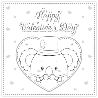 Feliz día de san valentín lindo koala dibujo postal gran corazón boceto para colorear