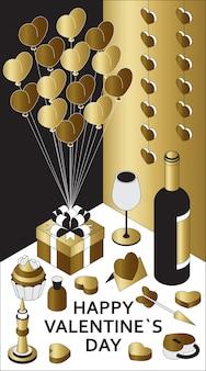 Feliz día de san valentín con lindos elementos isométricos. tarjeta de felicitación