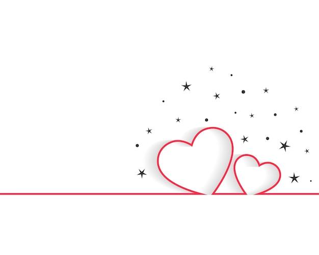 Feliz día de san valentín línea corazones saludo diseño