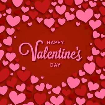 Feliz día de san valentín con marco de corazones decorativos